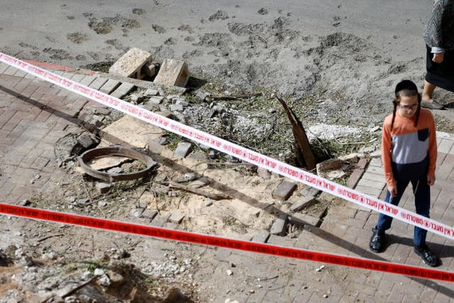 The damage caused after a rocket fired from Gaza hit the southern Israeli port city of Ashdod
