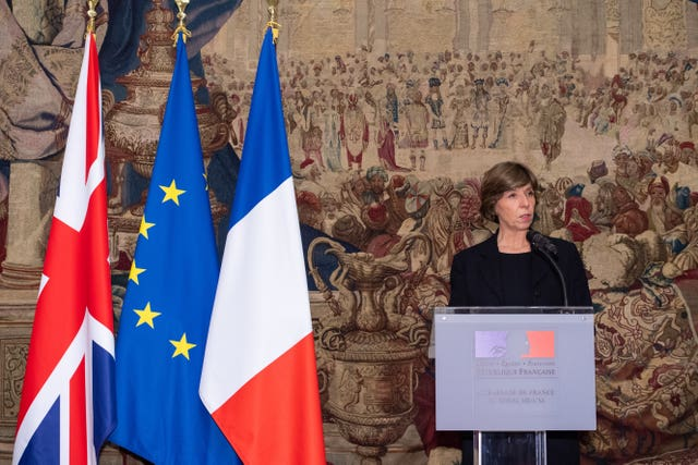 French ambassador to the UK Catherine Colonna makes a speech during a Legion d'Honneur presentation ceremony at the French ambassador's residence in Kensington Gardens, London