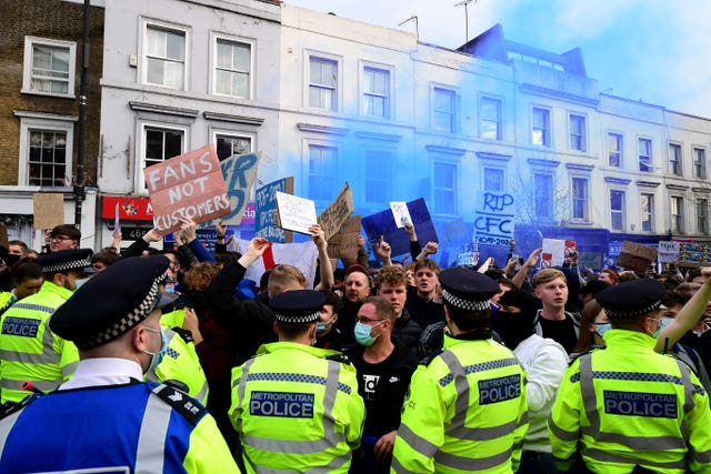 Chelsea were met with protests at Stamford Bridge