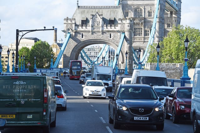 Bumper-to-bumper traffic on an approach road to Tower Bridge in London on Monday