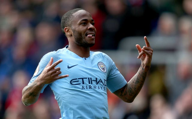 Manchester City's Raheem Sterling celebrates scoring his side's second goal of the game against Crystal Palace