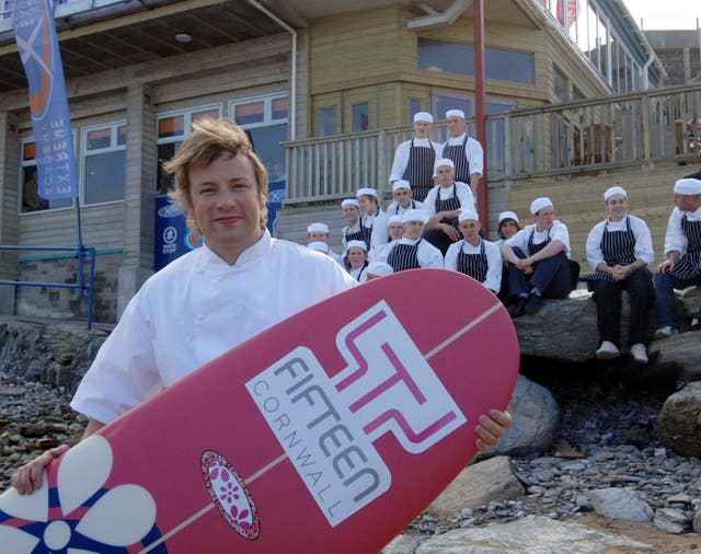 Jamie Oliver outside Fifteen Cornwall at Watergate Bay