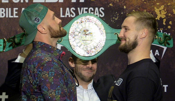 Tyson Fury, left, and Otto Wallin face off on Saturday