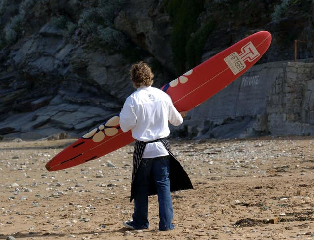 Jamie Oliver on the beach near Fifteen Cornwall