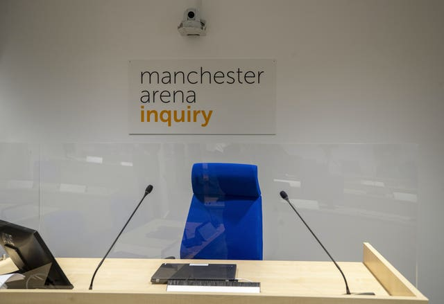 A general view inside the room where the Manchester Arena Inquiry  is being held (Peter Byrne/PA)