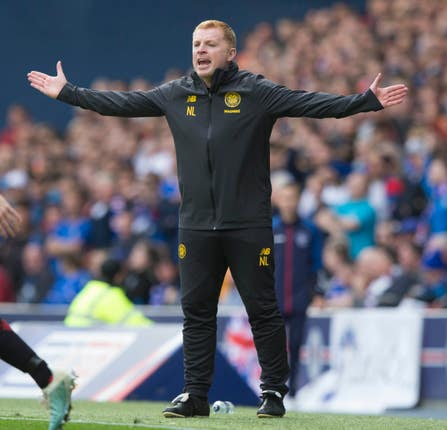 Celtic manager Neil Lennon prowled the touchline at Ibrox