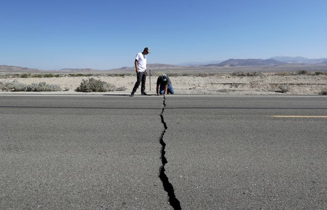 A crack on a road near Ridgecrest caused by the earthquake