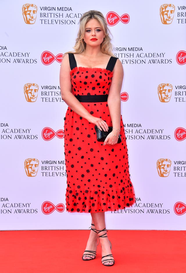 Emily Atack attending the Virgin Media BAFTA TV awards, held at the Royal Festival Hall in London
