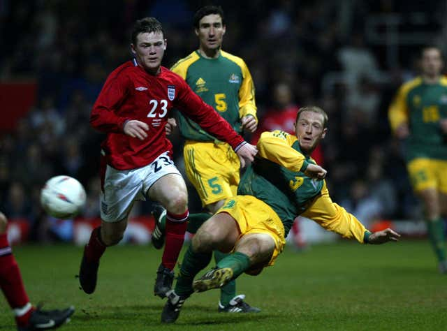 Wayne Rooney in action during his England debut almost 18 years ago.