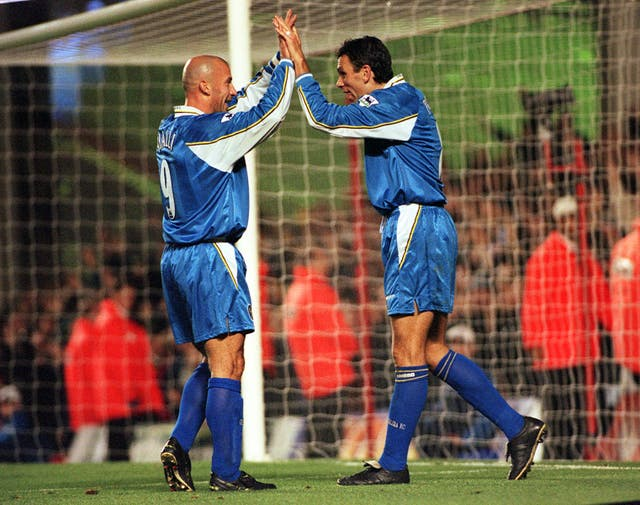 Gus Poyet (right) bagged a brace as Chelsea thrashed Arsenal 5-0 in their next League Cup encounter in November 1998.