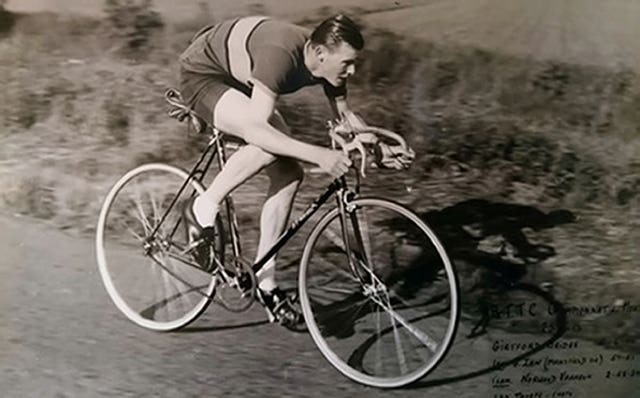 Russ Mantle cycling in his younger years