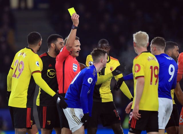 Vardy was denied a penalty and shown a yellow card
