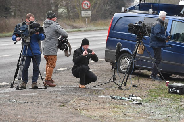 The accident crash scene has attracted media interest. John Stillwell/PA Wire