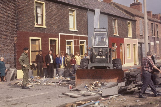 An Army bulldozer clearing debris in Belfast in 1969