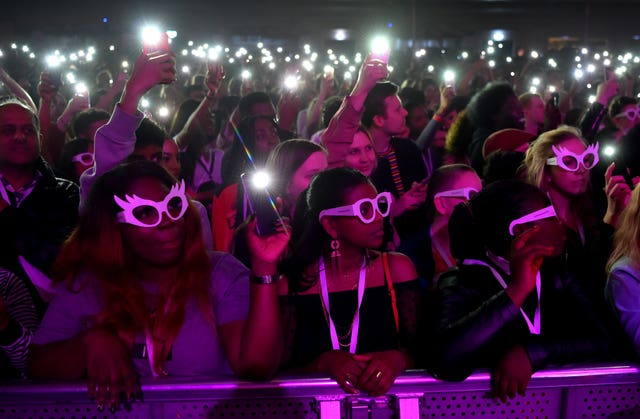 The crowd donned glasses to highlight the 2.5 billion people who suffer from poor vision and do not have access to glasses (Matt Crossick/PA)