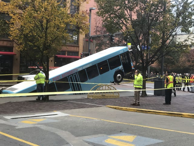 The bus in a sinkhole