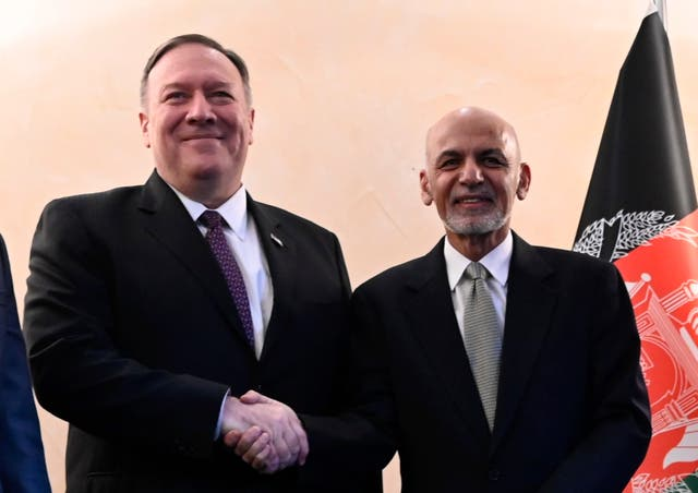 Mike Pompeo with Ashraf Ghani