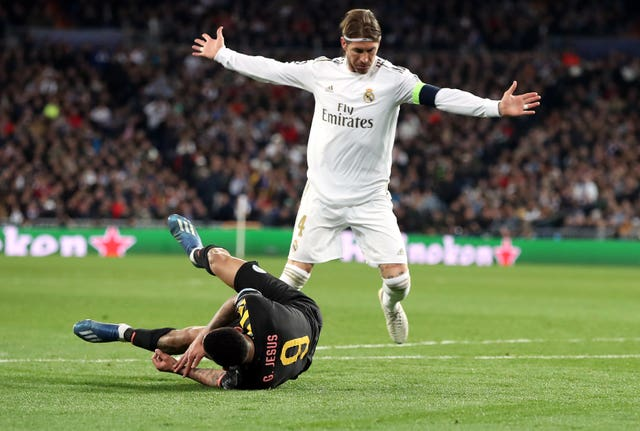 Ramos was sent off for bringing down Jesus in the closing minutes of the first leg