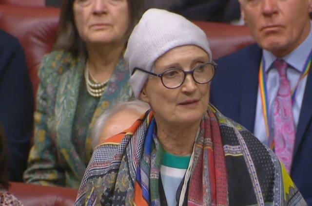 Dame Tessa Jowell speaking in the House of Lords (PA)