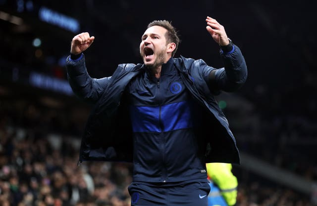 Chelsea manager Frank Lampard celebrates