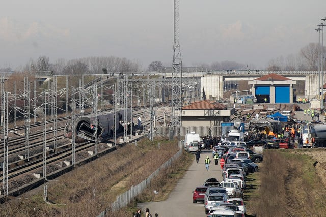 The scene after a train crash near the town of Lodi, northern Italy