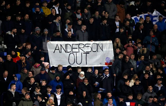 Bolton fans protest against chairman Ken Anderson