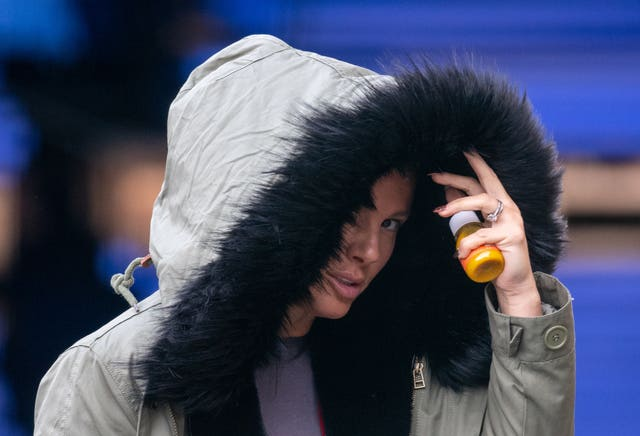Rebekah Vardy arrives for a Dancing On Ice training session at the National Ice Centre in Nottingham