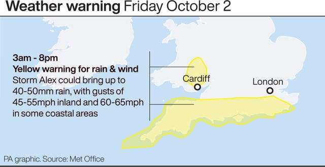 Weather warning Friday October 2
