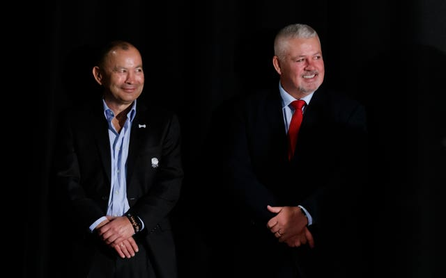 Eddie Jones, left, and Warren Gatland, right, will see their sides meet on the pitch on February 23
