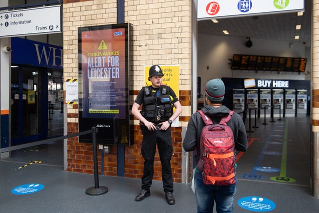 Police conduct spot checks on passengers at Leicester Railway Station