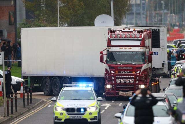 A container lorry, in which 39 people were found dead