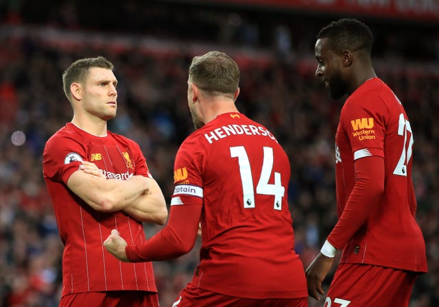 James Milner (left) scored a late winner against Leicester on Saturday as Liverpool maintained their 100 per cent start to the Premier League season (Peter Byrne/PA).