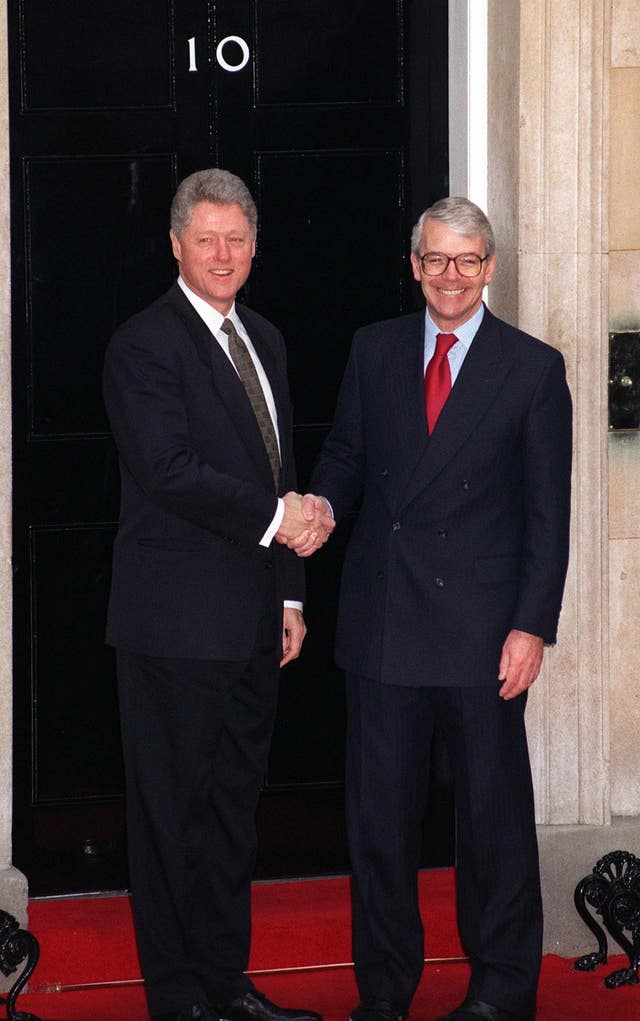 Bill Clinton with John Major at Number 10 Downing Street in November 1995 (Adam Butler/PA)