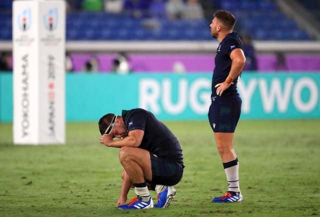 Dejected Scotland players after their disappointing defeat to Ireland