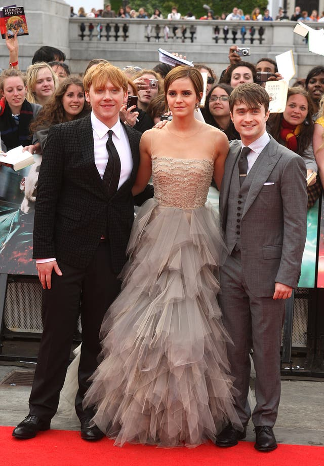 Rupert Grint, Emma Watson and Daniel Radcliffe at the world premiere of Harry Potter And The Deathly Hallows: Part 2
