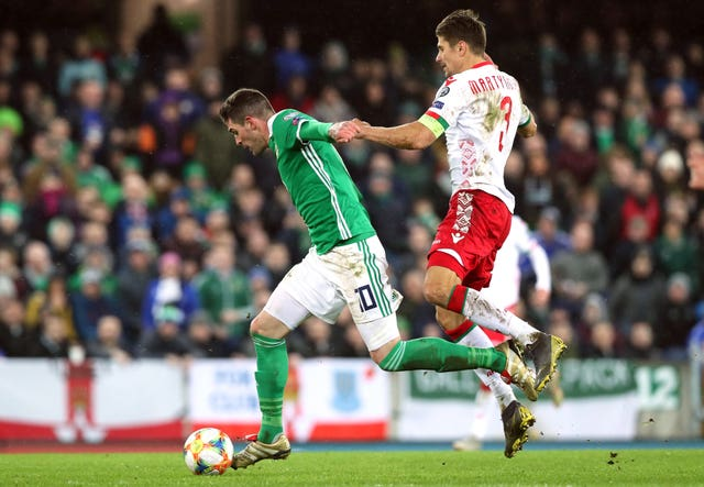 Kyle Lafferty had chances to get on the scoresheet at Windsor Park