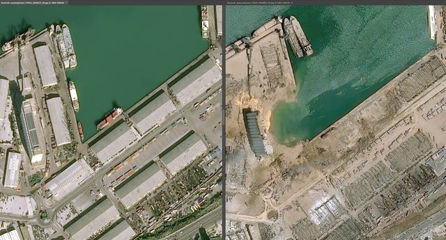 The docks before and after the huge blast in the Lebanese capital, Beirut (PA Media)