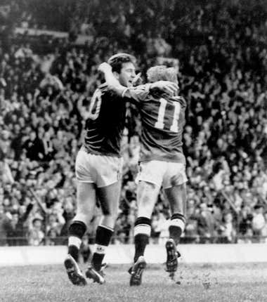 Manchester United's Norman Whiteside celebrates scoring the opening goal in the 1988 FA Cup Fourth Round against Chelsea