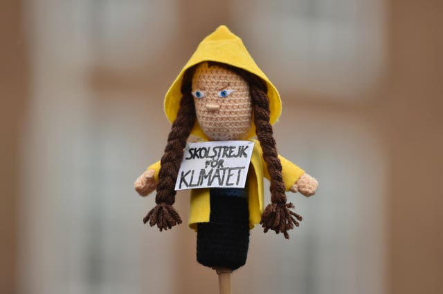 A knitted doll made to look like Greta Thunberg
