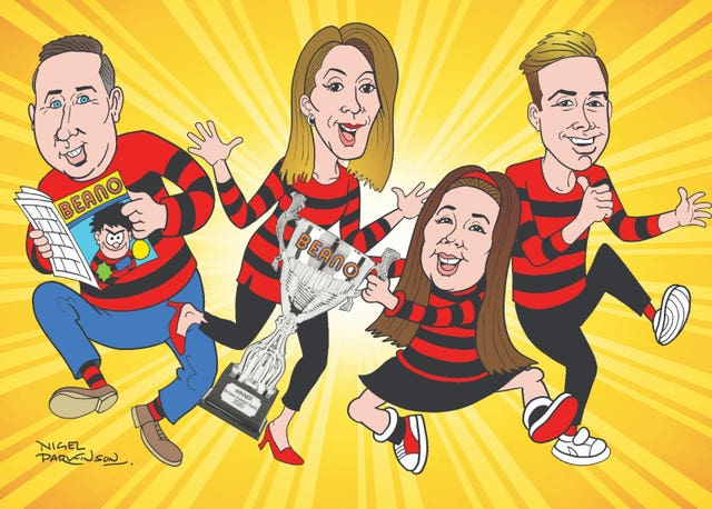 Undated handout illustration by Nigel Parkinson, issued by Beano Studios, of (left to right) father Scott Miller, mum Katrina Miller, daughter Lola Miller, 13 and son Devon Miller, 17, from Ipswich, appearing in Beano's comic strip Dennis and Gnasher after being crowned Britain's Funniest Family in a contest run by Beano and voted for by the public