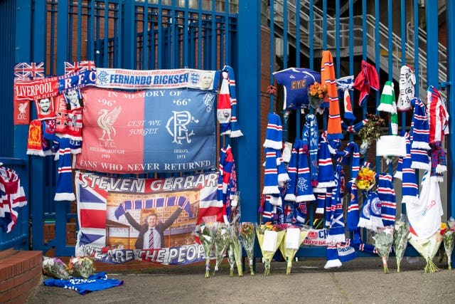 Floral tributes have been left at Ibrox