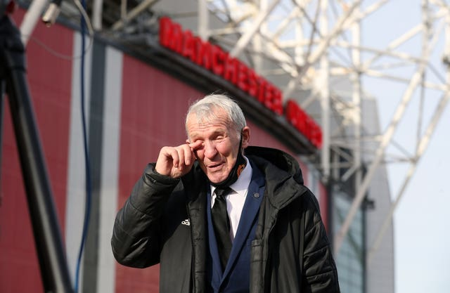 Former Manchester United player Pat Crerand was one of those outside Old Trafford to pay their respects