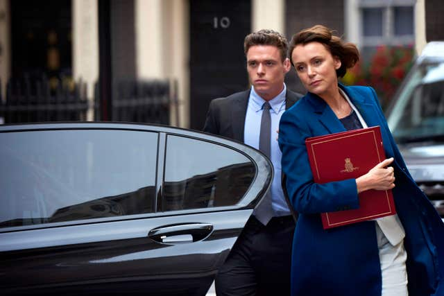 Richard Madden as David Budd and Keeley Hawes as Julia Montague in Bodyguard