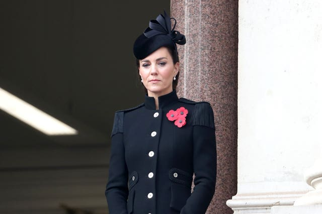 The duchess watched the Remembrance Sunday service at the Cenotaph from a Government building. Chris Jackson/PA Wire