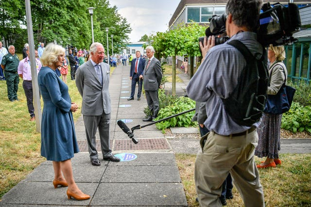 Charles and Camilla conduct a socially-distanced TV interview