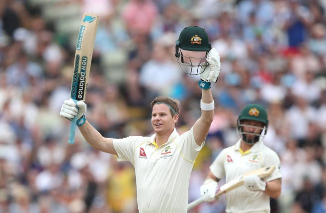 Steve Smith celebrates his second century of the first Test as Australia take charge at Edgbaston