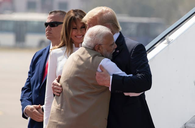 President Donald Trump received a warm welcome from Indian Prime Minister Narendra Modi as he stepped off Air Force One