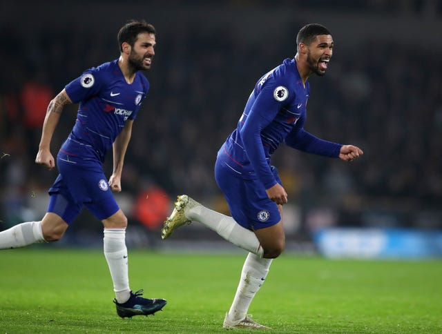 Ruben Loftus-Cheek, right, celebrates his opener