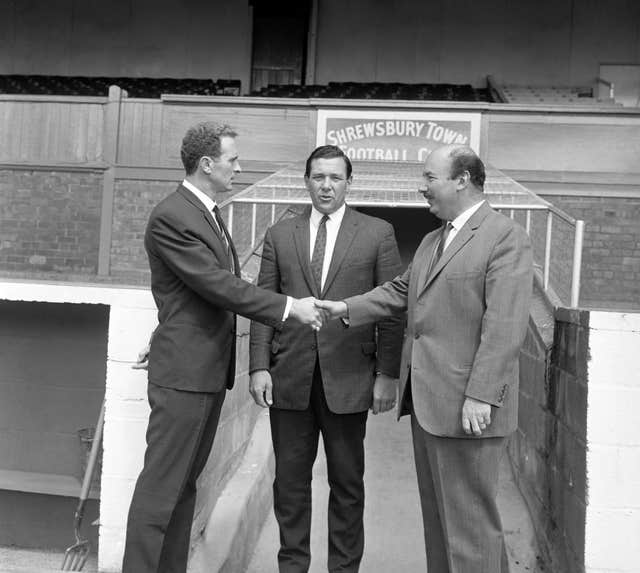 Harry Gregg's (left) first spell in management came at Shrewsbury