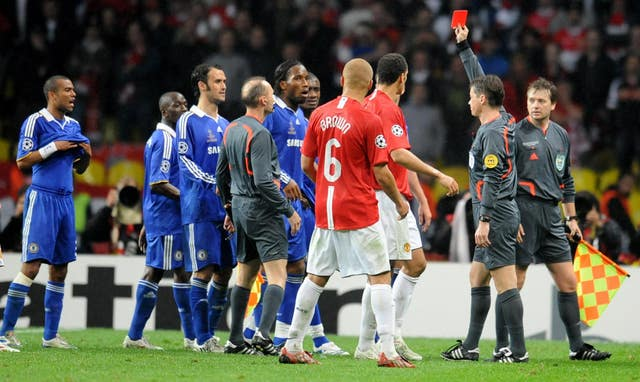 Chelsea forward Didier Drogba is given a red card during the 2008 Champions League final (PA)